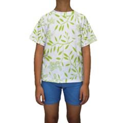Leaves Pattern Seamless Kids  Short Sleeve Swimwear