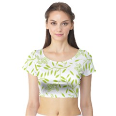 Leaves Pattern Seamless Short Sleeve Crop Top (Tight Fit)