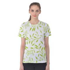 Leaves Pattern Seamless Women s Cotton Tee