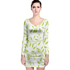 Leaves Pattern Seamless Long Sleeve Bodycon Dress