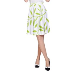 Leaves Pattern Seamless A Line Skirt