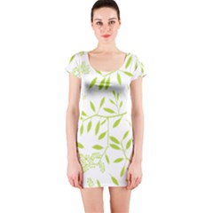 Leaves Pattern Seamless Short Sleeve Bodycon Dress