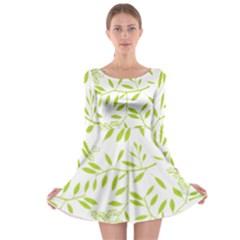 Leaves Pattern Seamless Long Sleeve Skater Dress