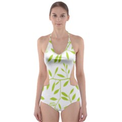 Leaves Pattern Seamless Cut-Out One Piece Swimsuit