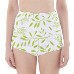 Leaves Pattern Seamless High Waisted Bikini Bottoms