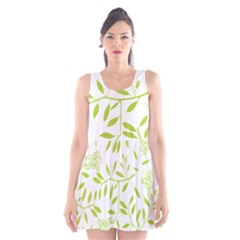 Leaves Pattern Seamless Scoop Neck Skater Dress