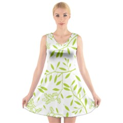 Leaves Pattern Seamless V-Neck Sleeveless Skater Dress
