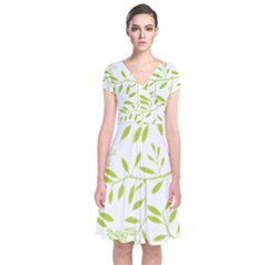 Leaves Pattern Seamless Short Sleeve Front Wrap Dress