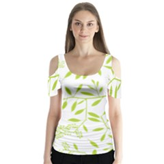 Leaves Pattern Seamless Butterfly Sleeve Cutout Tee