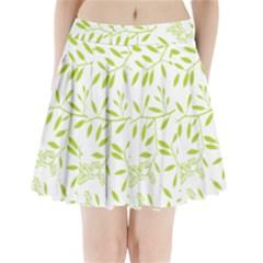 Leaves Pattern Seamless Pleated Mini Skirt
