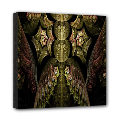 Fractal Abstract Patterns Gold Mini Canvas 8  x 8