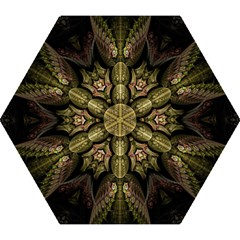 Fractal Abstract Patterns Gold Mini Folding Umbrellas