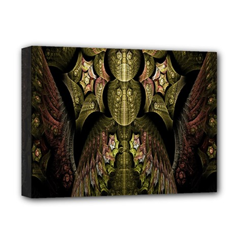 Fractal Abstract Patterns Gold Deluxe Canvas 16  x 12