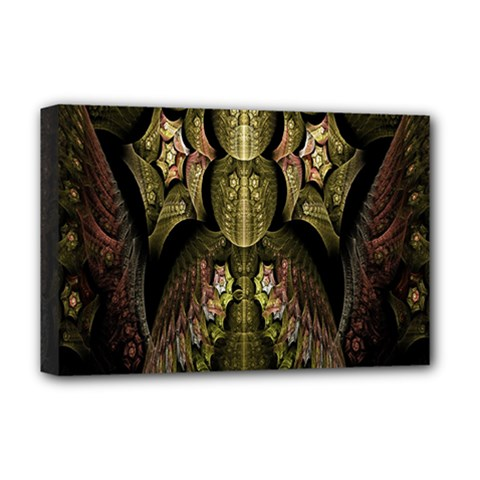 Fractal Abstract Patterns Gold Deluxe Canvas 18  x 12