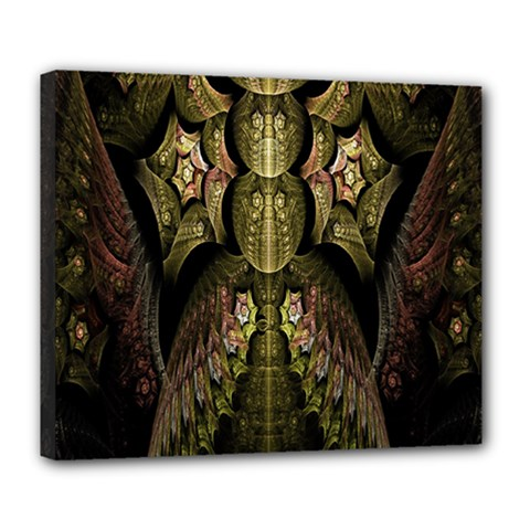 Fractal Abstract Patterns Gold Deluxe Canvas 24  x 20