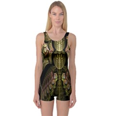 Fractal Abstract Patterns Gold One Piece Boyleg Swimsuit