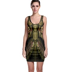 Fractal Abstract Patterns Gold Sleeveless Bodycon Dress