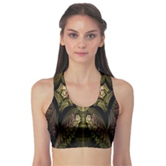 Fractal Abstract Patterns Gold Sports Bra