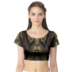 Fractal Abstract Patterns Gold Short Sleeve Crop Top (Tight Fit)