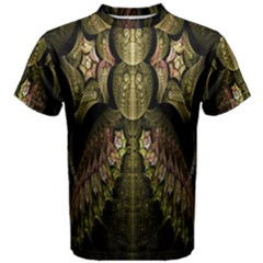 Fractal Abstract Patterns Gold Men s Cotton Tee