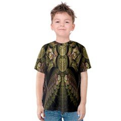 Fractal Abstract Patterns Gold Kids  Cotton Tee