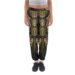 Fractal Abstract Patterns Gold Women s Jogger Sweatpants