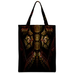 Fractal Abstract Patterns Gold Zipper Classic Tote Bag