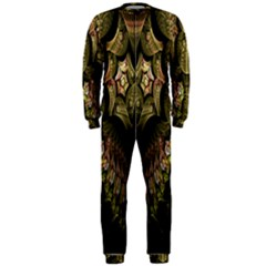 Fractal Abstract Patterns Gold OnePiece Jumpsuit (Men)