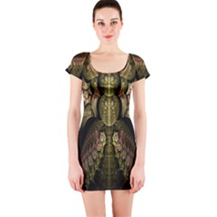 Fractal Abstract Patterns Gold Short Sleeve Bodycon Dress