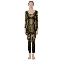 Fractal Abstract Patterns Gold Long Sleeve Catsuit