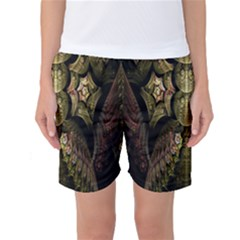 Fractal Abstract Patterns Gold Women s Basketball Shorts