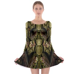 Fractal Abstract Patterns Gold Long Sleeve Skater Dress