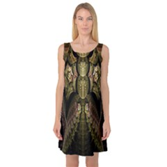 Fractal Abstract Patterns Gold Sleeveless Satin Nightdress