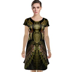 Fractal Abstract Patterns Gold Cap Sleeve Nightdress