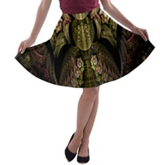 Fractal Abstract Patterns Gold A Line Skater Skirt