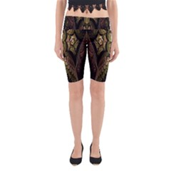 Fractal Abstract Patterns Gold Yoga Cropped Leggings