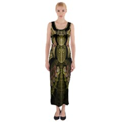 Fractal Abstract Patterns Gold Fitted Maxi Dress