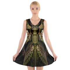 Fractal Abstract Patterns Gold V Neck Sleeveless Skater Dress