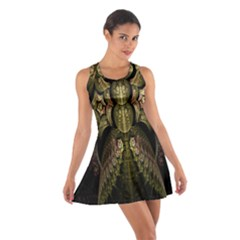 Fractal Abstract Patterns Gold Cotton Racerback Dress