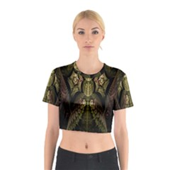 Fractal Abstract Patterns Gold Cotton Crop Top