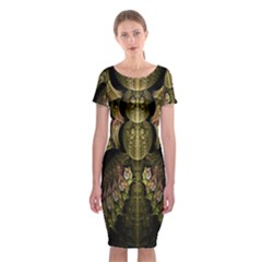 Fractal Abstract Patterns Gold Classic Short Sleeve Midi Dress
