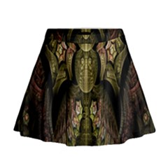 Fractal Abstract Patterns Gold Mini Flare Skirt
