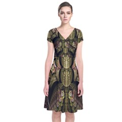 Fractal Abstract Patterns Gold Short Sleeve Front Wrap Dress