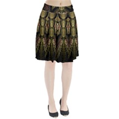 Fractal Abstract Patterns Gold Pleated Skirt