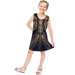 Fractal Abstract Patterns Gold Kids  Tunic Dress