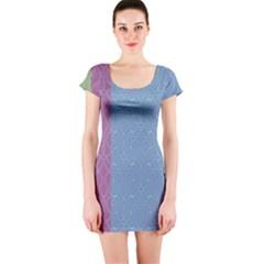 Fine Line Pattern Background Vector Short Sleeve Bodycon Dress
