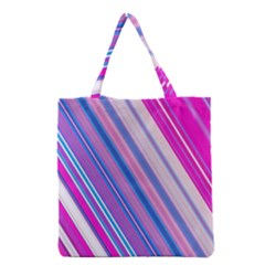 Line Obliquely Pink Grocery Tote Bag