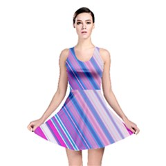 Line Obliquely Pink Reversible Skater Dress