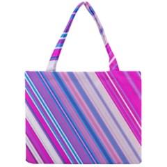 Line Obliquely Pink Mini Tote Bag