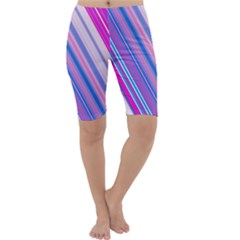 Line Obliquely Pink Cropped Leggings